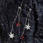 925 Sterling Silver Snow & Star Dangle Earring 1 Pair - 925 Silver - Earrings - Snowflake - One Size