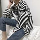 Long-sleeve Striped Oversized Top