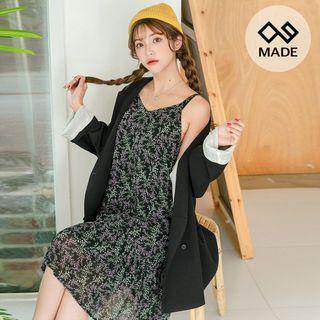 Sleeveless Frill-hem Floral Midi Chiffon Dress