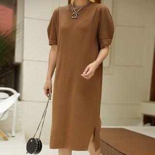 Puff-sleeve Slit-side Dress