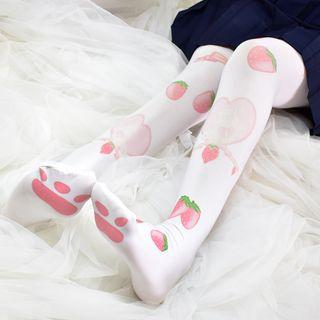 Strawberry Print Tights White - One Size