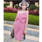 Bow Gingham Strappy Dress