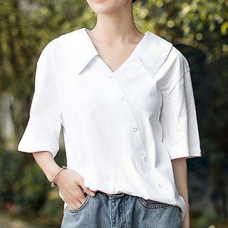 3/4-sleeve Asymmetric Buttoned Top