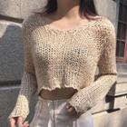 Cropped Open-knit Top