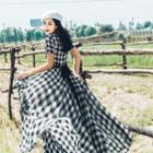 Short-sleeve Check Maxi Dress