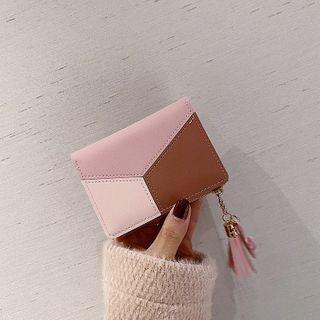 Tassel Color Panel Faux Leather Wallet
