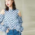 Long-sleeve Cutout Dotted Shirt