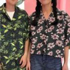 Elbow-sleeve Floral Print Shirt