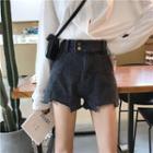 Washed Paneled Denim Shorts