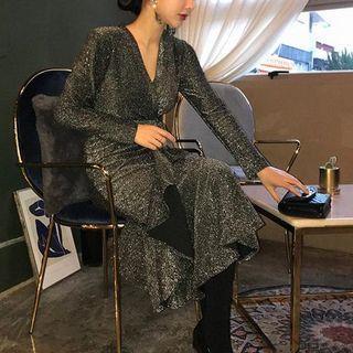 V-neck Ruffle-hem Glitter Midi Dress