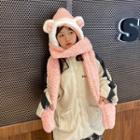 Chenille Animal Earring Hooded Scarf