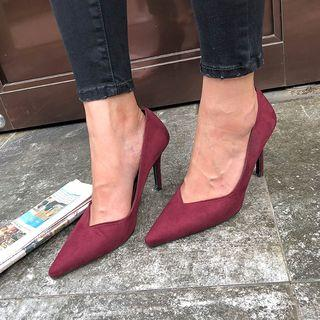 Pointy Faux-suede Stilettos