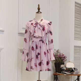 Long-sleeve Tie-neck Rose Printed A-line Dress