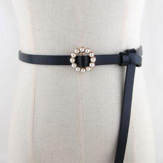 Faux Pearl Buckle Skinny Belt
