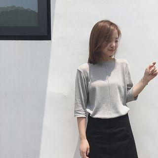Plain Elbow Sleeve Knit Top