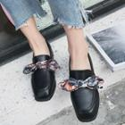 Bow Accent Block Heel Loafers