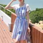 Set: Short Sleeve T-shirt + Striped Buttoned Pinafore Dress