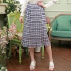 Plaid Midi Flared Skirt