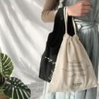 Drawstring Lettering Canvas Handbag