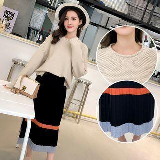 Set: Crew-neck Sweater + Color Block Midi Knit Skirt