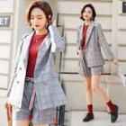 Set : Plaid Blazer + Shorts