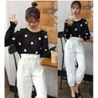 Polka Dot Knit Top / Cropped Baggy Pants