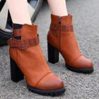 Belted Block Heel Ankle Boots