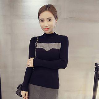 Mock-neck Panel Knit Top