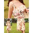 Sleeveless Floral Chiffon Dress