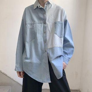 Striped Panel Denim Shirt Denim Shirt - As Shown In Figure - One Size