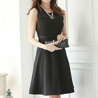 Mesh Trim Sleeveless A-line Dress