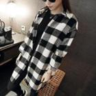 Plaid Snap-button Coat