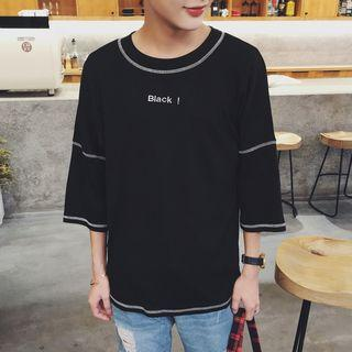 Letter Embroidered 3/4 Sleeve T-shirt