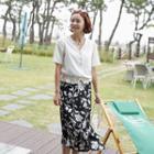 Flower Print Long Wrap Skirt