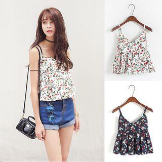 Cropped Strappy Floral Top