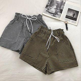 Double Pocket Plaid Drawcord High-waist Shorts