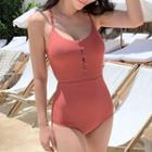 Open-back Buttoned Swimsuit