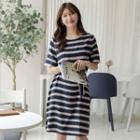 Striped Midi T-shirt Dress With Sash