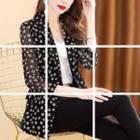 3/4-sleeve Patterned Blazer