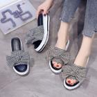 Houndstooth Bow Platform Slide Sandals
