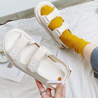 Platform Adhesive Strap Slingback Sandals