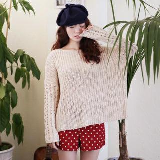 Round-neck Drop-shoulder Knit Top