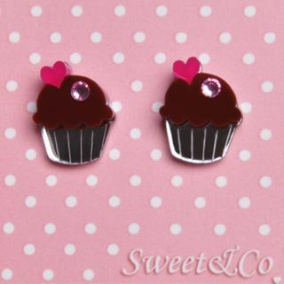 Sweet&co. Mini Cupcake Stud Earrings Silver - One Size
