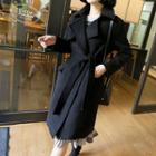 Open-front Long Coat With Sash