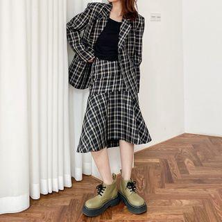 Plaid Double-breasted Blazer / Midi A-line Skirt / Straight Leg Pants
