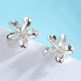 925 Sterling Silver Flower Earring Es422-2 - 1 Pair - One Size