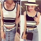 Sleeveless Two-tone Cropped Knit Top