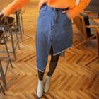 Asymmetric-hem Denim Midi Skirt