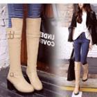 Block Heel Buckled Tall Boots