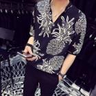 V-neck Pineapple Print Elbow-sleeve Shirt